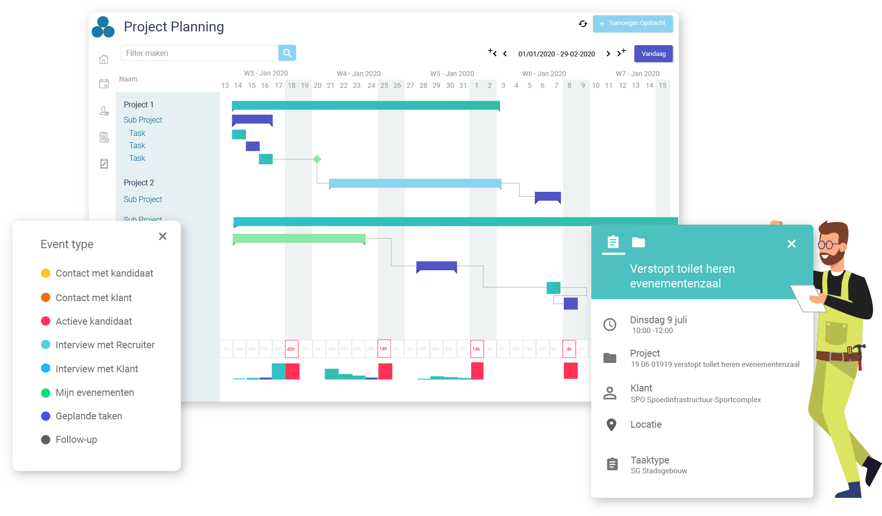Project planning - Arinto - Optimaliseer uw personeel, materieel en materiaal