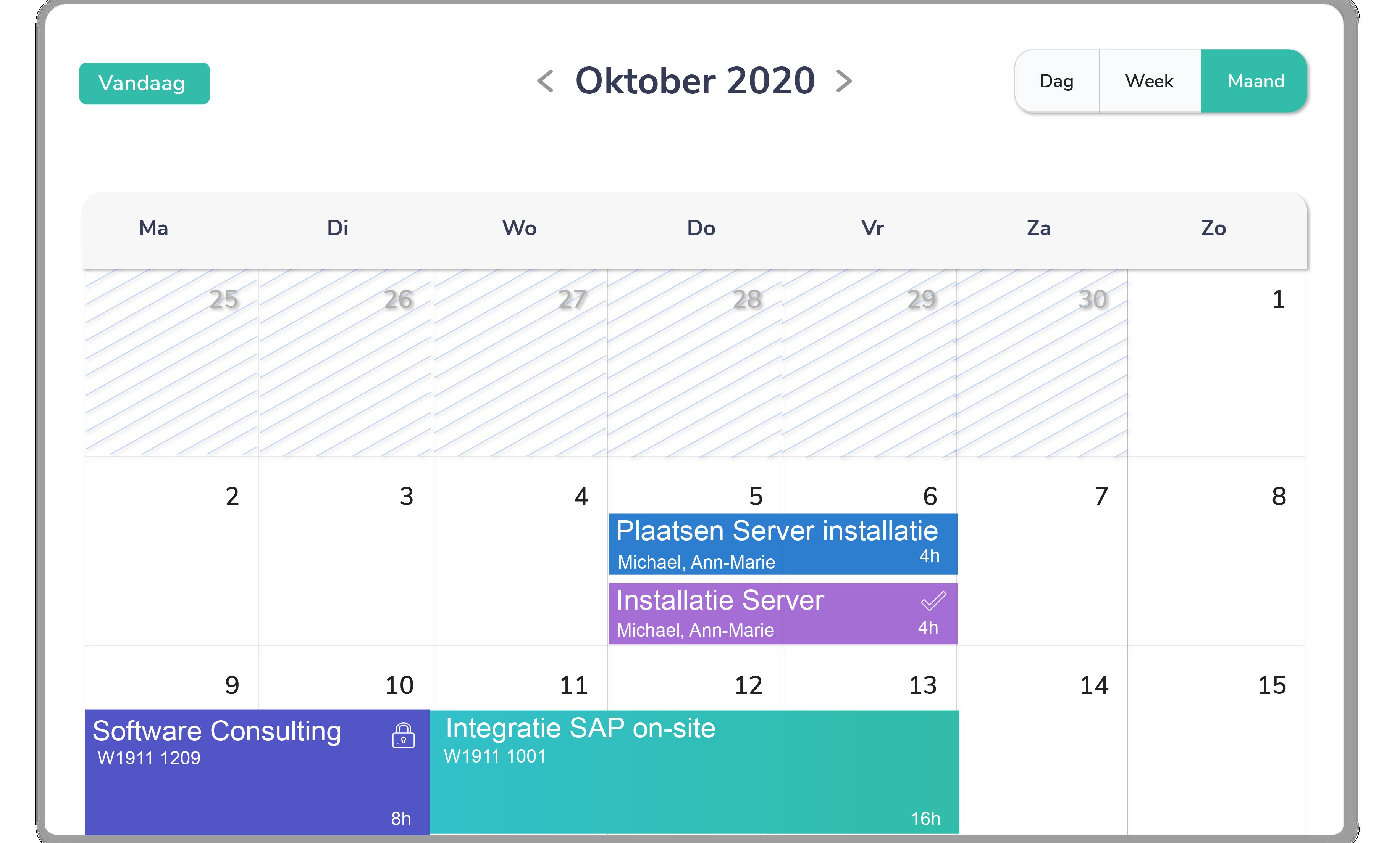 Kalender dienstenbedrijven - Arinto - Optimaliseer uw personeel, materieel en materiaal