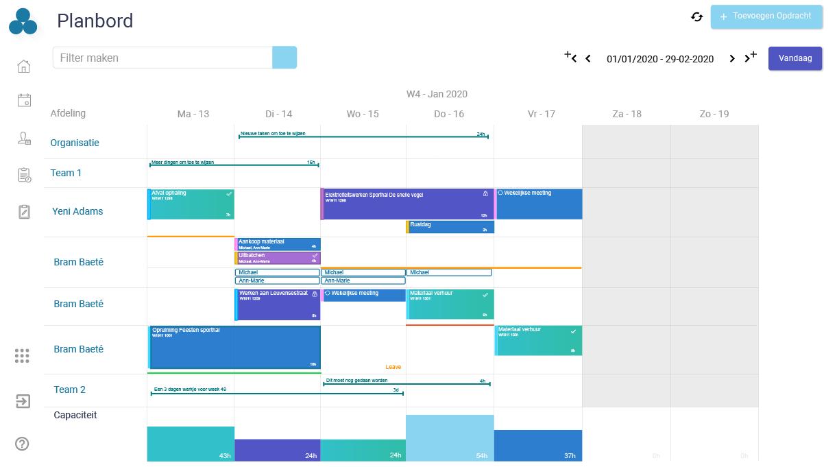 Planbord – Arinto – Optimaliseer uw personeel, materieel en materiaal