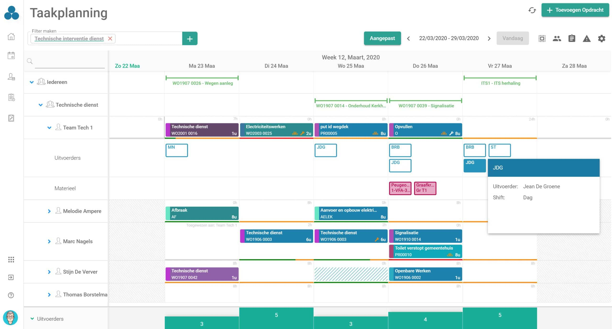 Task planning board - Planbord voor taakplanning in Arinto - Planning Software